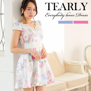 Andy - ティアリー tearly 花柄フレアワンピースドレス フラワーオーガンジー