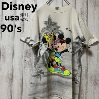 Disney - 古着 90s シェリーズ usa製 ミッキー ミニー 両面プリント Tシャツ