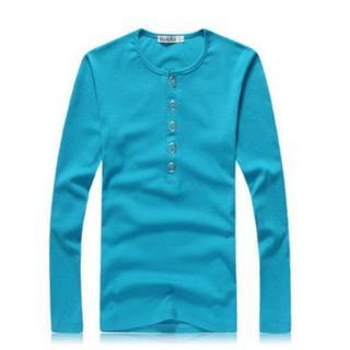 【アウトレット】ヘンリーネックカットソー 長袖シャツ  水色  ロンT(Tシャツ/カットソー(七分/長袖))
