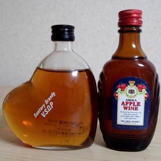 ニッカウイスキー(ニッカウヰスキー)のハート形ブランデー特級&アップルワイン ミニボトルセット(ワイン)