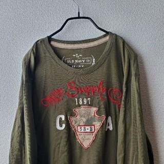 オールドネイビー(Old Navy)の〘ストリート〙ロンT OLD NAVY VINTAGE 刺繍 ワッペン(Tシャツ/カットソー(七分/長袖))
