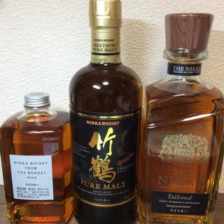 ニッカウイスキー(ニッカウヰスキー)の送料込!ニッカ フロムザバレル,竹鶴、ザニッカ テーラード 各1本計3本(ウイスキー)