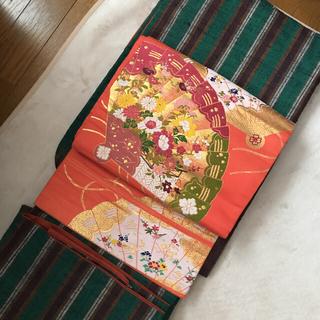 明るいオレンジ アンティーク 名古屋帯 着物 大正ロマン 昭和レトロ モダン(着物)