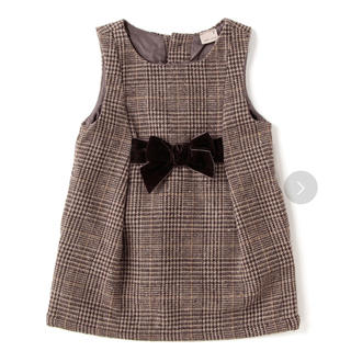 petit main - プティマイン ウエストリボン ワンピース ジャンパースカート  100