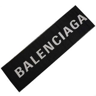 バレンシアガ(Balenciaga)の新品 バレンシアガ ウール マフラー ジャガードロゴ ロング ストール ブラック(マフラー/ショール)