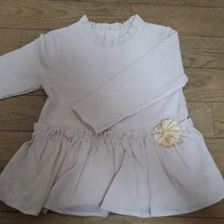 petit main - プティマイン     お花ペプラムTシャツ100