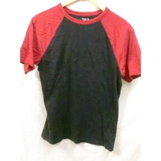 オールドネイビー(Old Navy)のOLD NAVYブラック×レッドラグランTシャツUSA古着良品S(Tシャツ/カットソー(半袖/袖なし))