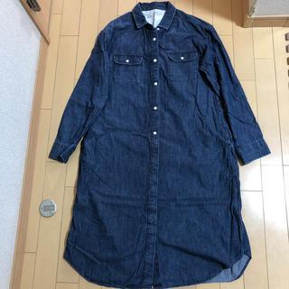 MUJI (無印良品) - デニム  ロングシャツ ワンピース  Lサイズ 無印良品