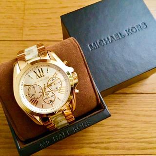 Michael Kors - 【美品!!】マイケルコース 英字クロノグラフ腕時計 ゴールド×大理石調🎀