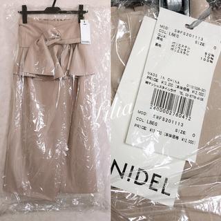 スナイデル(snidel)の新品タグ付き SNIDEL 今季 リボンディテールポンチスカート ベージュ 0(ひざ丈スカート)