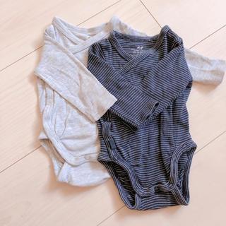 エイチアンドエム(H&M)のH&M 新生児 長袖ロンパース 50cm  肌着 2枚セット(肌着/下着)