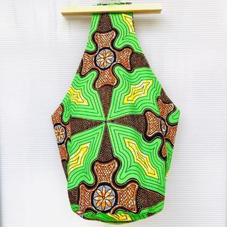 グリーン オレンジフラワー アフリカ布 しずくバッグ ハンドメイド バオバブ神戸(ショルダーバッグ)