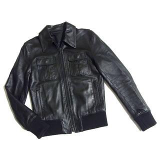 リチウムオム(LITHIUM HOMME)のリチウムオム A-2 中綿 レザー ライダース ジャケット 42 黒 ブラック(レザージャケット)