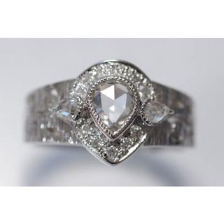 K18 WG ローズカット ダイヤモンド 0.90ct リング 750(リング(指輪))