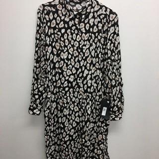 ZARA - レオパード柄ロングシャツ ブラック Mサイズ ZARA レディース 新品 未使用