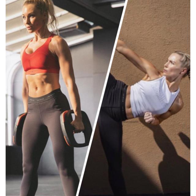 Reebok(リーボック)の新品未使用 Reebok レズミルズ ウィメンズ ロゴタイツ Lサイズ スポーツ/アウトドアのトレーニング/エクササイズ(ヨガ)の商品写真