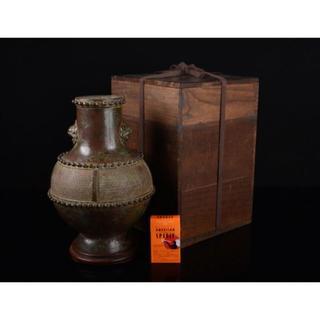 中国 古銅宣徳銅 雙獣耳瓶 唐木台・時代箱付 D R2461K(金属工芸)