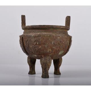 中国 古銅宣徳銅 饕餮文 三つ足香炉 C R2469(金属工芸)