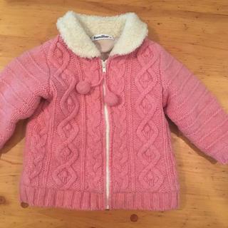 familiar - ファミリアピンク色ニットジャケット