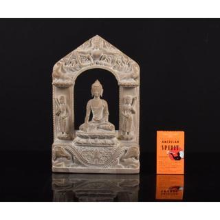 石仏 クメール仏 仏像 ガンダーラ 三尊仏 重さ約3.1kg F R2487(彫刻/オブジェ)