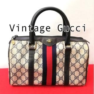 Gucci - 希少!オールドグッチ シェリーライン ビンテージミニボストンバッグ ハンドバッグ
