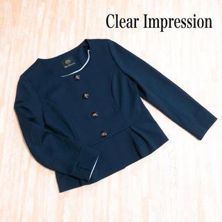 CLEAR IMPRESSION - Clear Impression ノーカラージャケット 紺 お仕事 セレモニー