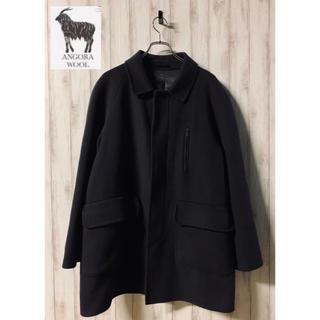 wool soutien-collar coat アンゴラ混 チャコールグレー(ステンカラーコート)