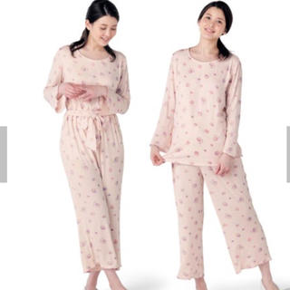 ベルメゾン - 授乳対応マタニティ カップケーキ柄プリントルームパジャマ  ピンク