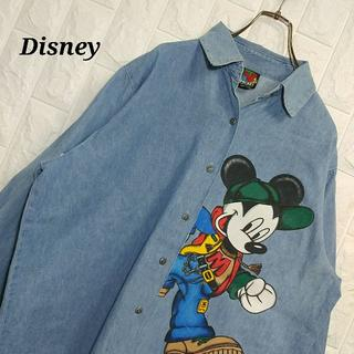 Disney - ディズニー ミッキー ビックプリント デニムシャツ 90s
