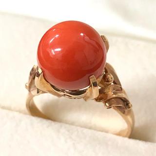 赤珊瑚 18金リング 1cm 10mm K18 指輪(リング(指輪))