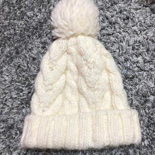 エルディーエス(LDS)のポンポン付ニット帽(白)(ニット帽/ビーニー)