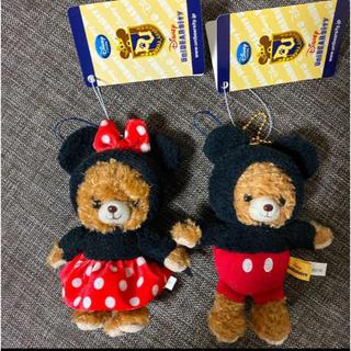 Disney - Uni BEAR sity バッチつきキーチェーン&ストラップ 2個セット