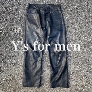 Yohji Yamamoto - ヨウジヤマモト ワイズフォーメン レザー パンツ スラックス