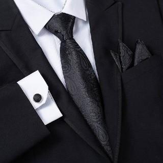 ペイズリー柄 刺繍 ブラック ネクタイセット(ネクタイ)