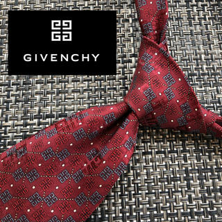 GIVENCHY - 【人気】givenchy  イタリア製最高級シルク100%ネクタイ レッド ロゴ