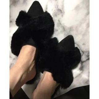 ▲ラスト1点▲ 新作! クロスファーシンプルフラットシューズ▶︎ブラック24cm(ローファー/革靴)