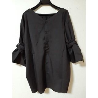 4L 大きいサイズ ブラウンチェック 袖フレアブラウス(シャツ/ブラウス(長袖/七分))