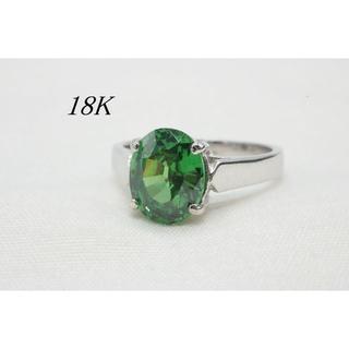 【T316】18K 刻印あり グリーントルマリン 一粒 リング 指輪 15号(リング(指輪))