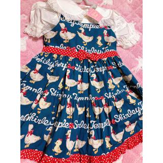 Shirley Temple - 新品タグ付 100 あひる&ひよこボーダーptジャンパースカート 半袖ブラウス