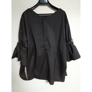 5L 大きいサイズ ブラウンチェック 袖フレアブラウス(シャツ/ブラウス(長袖/七分))