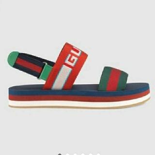 Gucci - GUCCI ストライプ ストラップ サンダル  9