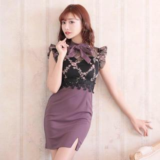 dazzy store - 明日花キララ着用ボウタイリボン付フラワー刺繍ラインミニタイトドレス Lサイズ