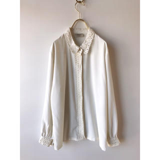 Santa Monica - vintage リボン装飾 シフォン 白シャツ ヴィンテージ