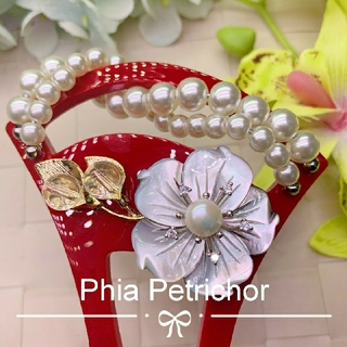 髪飾り 黑蝶貝 かんざしB202202  バチ型 結婚式 簪 留袖 着物 成人式(ヘアアクセサリー)