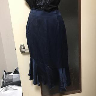 イチミリ(ichi-miri)のヴェルサスアシメントリースカートシルク紺色9号(ひざ丈スカート)