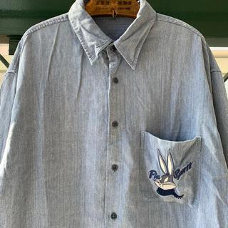 ART VINTAGE - 90s 古着 刺繍シャツ テンセルシャツ バックスバニー 落ち感 オーバーサイズ