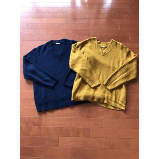 GU - GU ジーユー Vネック ニット セーター メンズ L