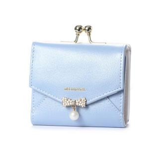 ミッシュマッシュ(MISCH MASCH)の新品 がま口 折財布 ブルー チャーム付♪ダイアナ(財布)