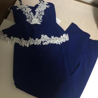 dazzy store - tika 刺繍 ペプラム タイトロングドレス