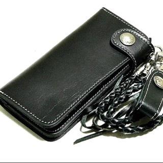 BIG 本革5¢コイン付 黒×白ステッチ レザーウォレットループ付き 財布(長財布)